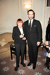 MARY QUANT and TOM FORD at a dinner hosted by Vogue in honour of photographer David Bailey at Claridge's, Brook Street, London on 11th May 2010.