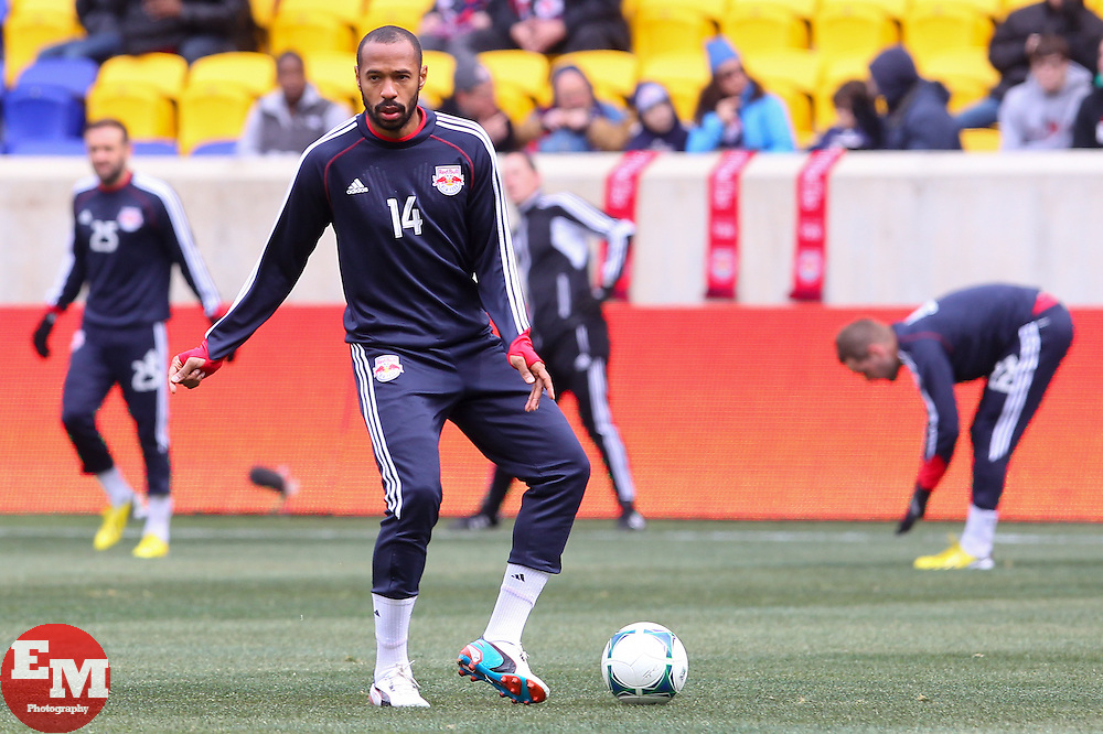 Mar 16, 2013; Harrison, NJ, USA; New York Red Bulls forward Thierry Henry (14) during the pre game warmups for their game against DC United at Red Bull Arena.