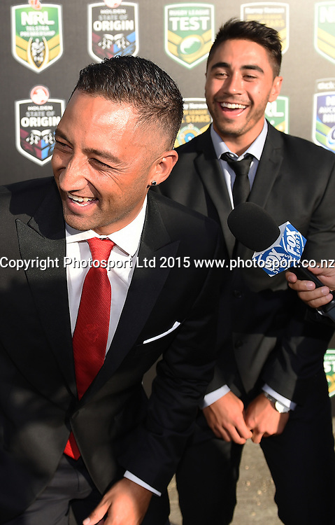 Dragons Rugby League player Benji Marshall and Shaun Johnson from the Warriors. NRL Season Launch. Shed 10, Auckland, New Zealand. Thursday 29 January 2015. Copyright photo: Andrew Cornaga /www.photosport.co.nz