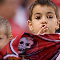 28 october 2007: Two young Buccaneers fans are seen during the Jacksonville Jaguars 24-23 victory over the Tampa Bay Buccaneers. at the Raymond James Stadium in Tampa, Florida, USA.