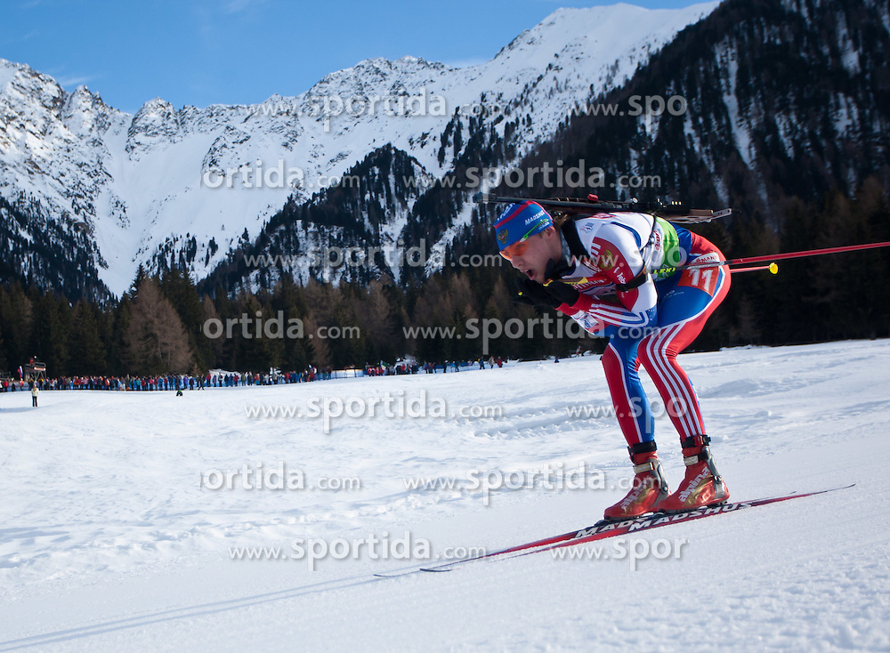 23.01.2011, Südtirol Arena, Antholz, ITA, IBU Biathlon Worldcup, Antholz, Relay Men, im Bild Anton Shipulin (RUS) // Anton Shipulin (RUS) during IBU Biathlon World Cup in Antholz, Italy, EXPA Pictures © 2011, PhotoCredit: EXPA/ J. Feichter