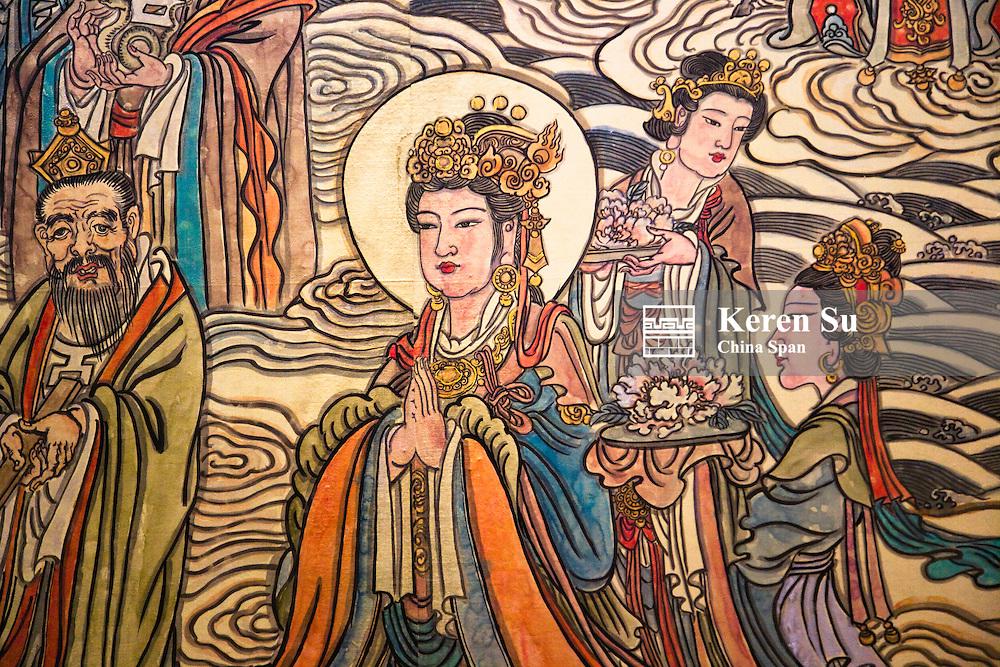 Historic painting, Fahua Temple, Chishang Scenic Area, Rongcheng, Shandong Province, China