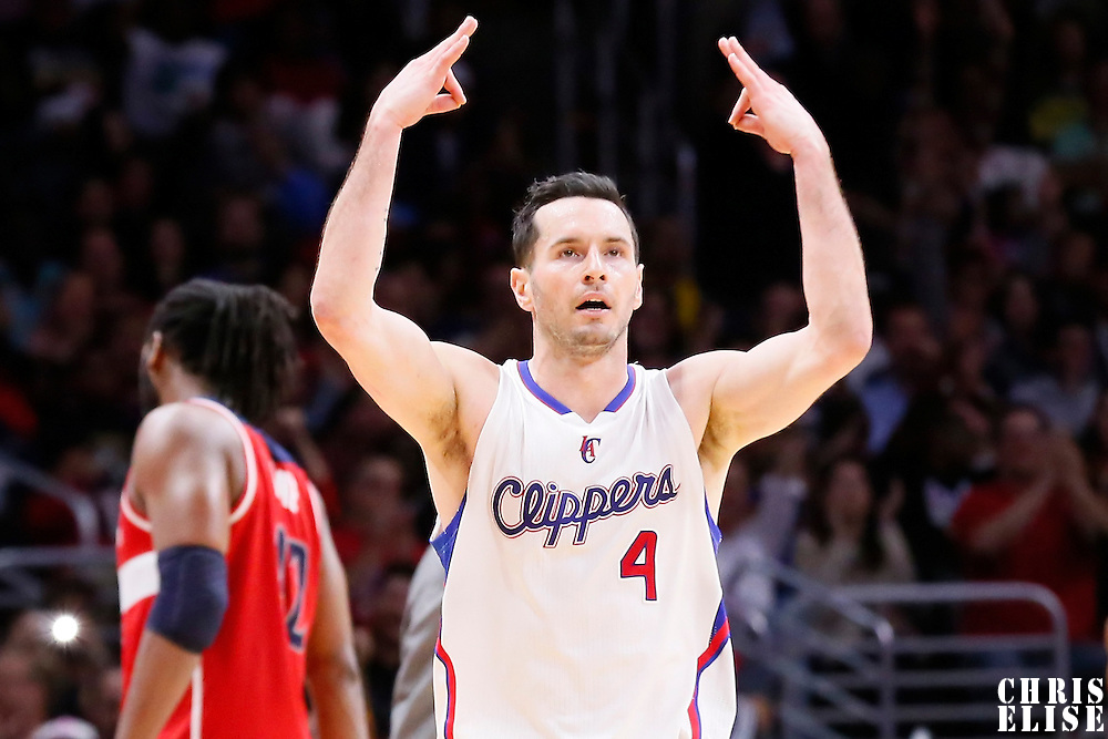 20 March 2015: Los Angeles Clippers guard J.J. Redick (4) celebrates during the Los Angeles Clippers 113-99 victory over the Washington Wizards, at the Staples Center, Los Angeles, California, USA.