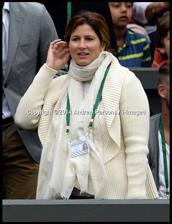 Image ©Licensed to i-Images Picture Agency. 28/06/2014. Wimbledon, London, United Kingdom. Federer wife Mirka Federer  watches Rodger Federer V Santiago Giraldo on centre court on Day 6 of the Wimbledon Championships. Picture by Andrew Parsons / i-Images
