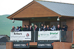 NEWTOWN, WALES - Saturday, May 2, 2015: The New Saints manager Craig Harrison watches from the media area during the FAW Welsh Cup final match against Newtown at Latham Park. (Pic by Ian Cook/Propaganda)