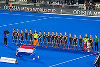 BHUBANESWAR, INDIA -  Oranje  tijdens volkslied  voor  de  finale tussen België en Nederland (0-0) bij het WK Hockey heren in het Kalinga Stadion. Belgie wint na shoot-outs. COPYRIGHT KOEN SUYK