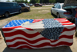 American Flag/eagle over a table in a parking area in South Carolina