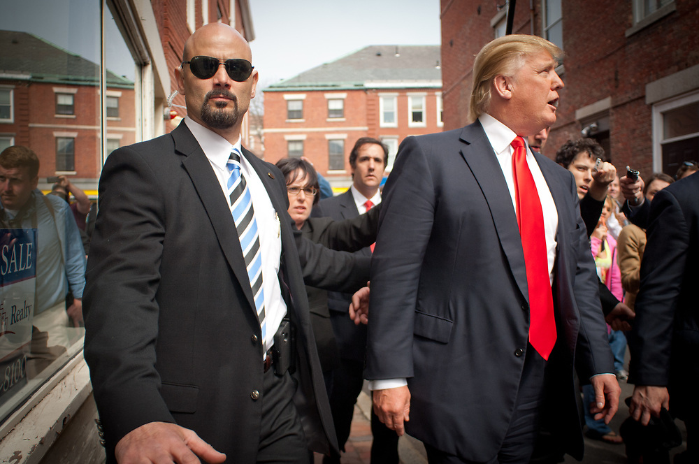 Real Estate Mogul, TV Star and Presidential hopeful Donald Trump makes a visit to Portsmouth, NH for meetings and a meet and greet as he walks around Downtown Portsmouth.