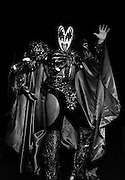 Photo of Gene Simmons from the band Kiss backstage in Rome - 1980