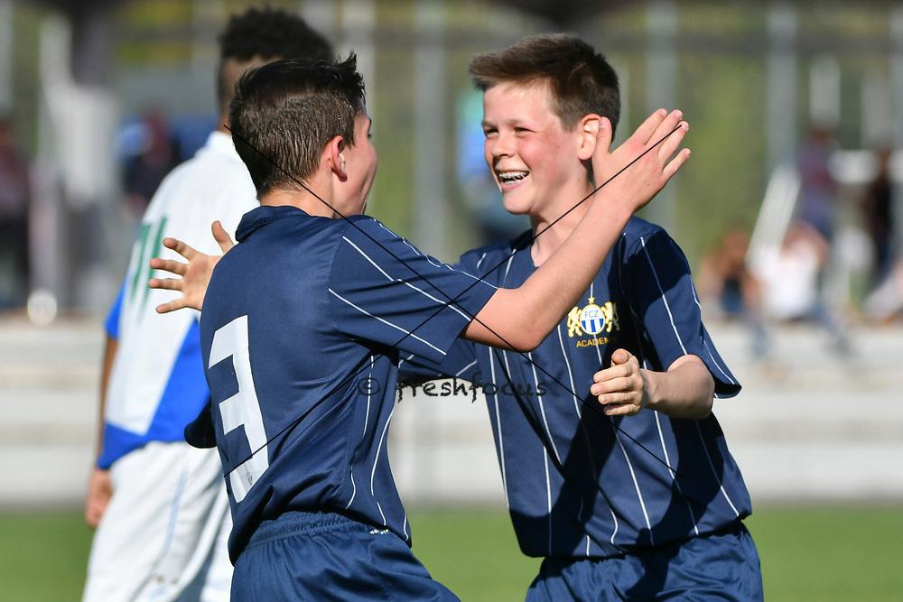 08.04.17; Zuerich; Fussball FCZ Academy - Grasshopper Club - Zuerich FE14 Oberland; <br /> Lanciano Davide (Zuerich) Lederer Pascal (Zuerich) jubel  <br /> (Andy Mueller/freshfocus)