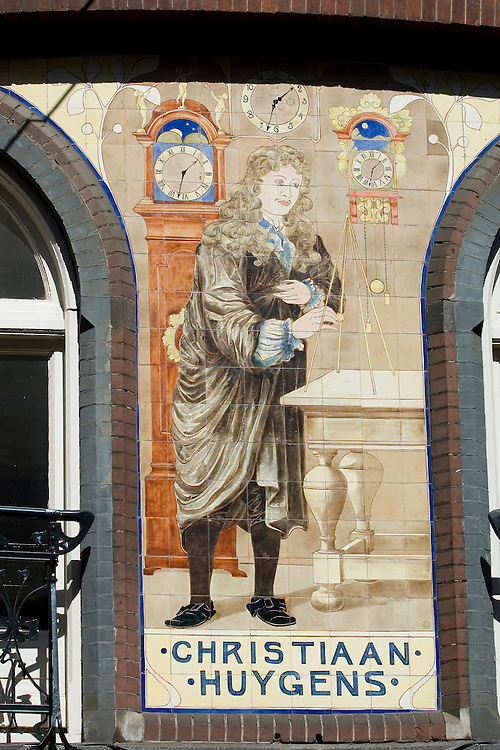 Mural in the centre of Amsterdam depicting famous Dutch mathematician Christiaan Huygens(1629-1695) who patented the first pendulum clock.