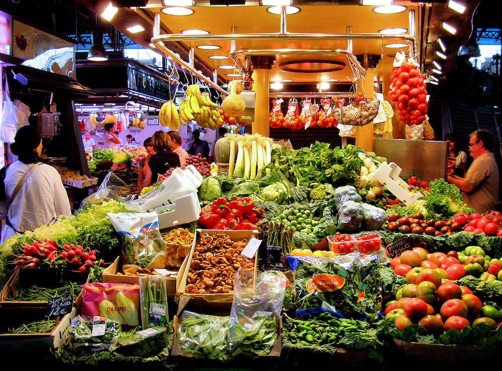 La Boqueria Market on La Rambla in Barcelona, Spain <br />