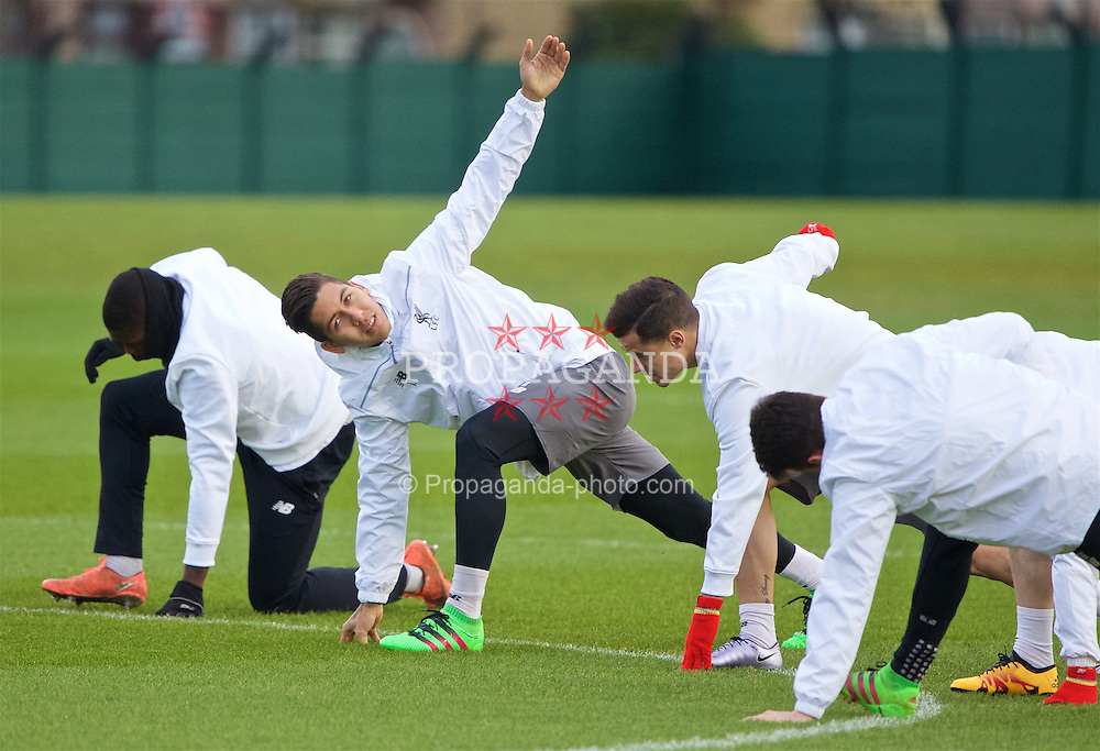 LIVERPOOL, ENGLAND - Wednesday, March 9, 2016: Liverpool's Roberto Firmino during a training session at Melwood Training Ground ahead of the UEFA Europa League Round of 16 1st Leg match against Manchester United FC. (Pic by David Rawcliffe/Propaganda)