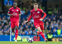 Football - 2016/2017 Premier League - Chelsea V Leicester.<br /> <br /> Jamie Vardy and Daniel Amartey of Leicester City at Stamford Bridge.<br /> <br /> COLORSPORT/DANIEL BEARHAM