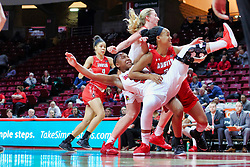 NORMAL, IL - December 04: Viria Livingston takes an elbow from Nieja Crawford during a college women's basketball game between the ISU Redbirds  and the Austin Peay Governors on December 04 2018 at Redbird Arena in Normal, IL. (Photo by Alan Look)