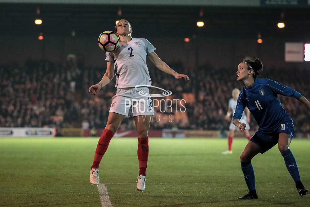 Lucy Bronze (England) (Manchester City) controls a driven pass on her chest during the Women's International Friendly match between England Ladies and Italy Women at Vale Park, Burslem, England on 7 April 2017. Photo by Mark P Doherty.