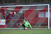Dorking Wanderers Slalomer Huk is beaten by a penalty during the Ryman League - Div One South match between Dorking Wanderers and Lewes FC at Westhumble Playing Fields, Dorking, United Kingdom on 28 January 2017. Photo by Jon Bromley.