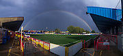 A Rainbow and dark skies greet the us prior the Johnstone's Paint Trophy match between AFC Wimbledon and Plymouth Argyle at the Cherry Red Records Stadium, Kingston, England on 1 September 2015. Photo by Stuart Butcher.