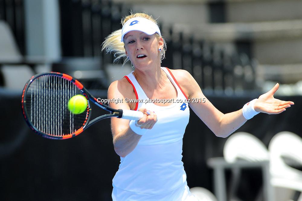 Urszula Radwanska (POL) during her singles qualifying match. ASB Classic Women's International. ASB Tennis Centre, Auckland, New Zealand. Sunday 4 January 2015. Photo: Chris Symes/www.photosport.co.nz