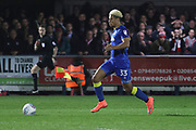 AFC Wimbledon striker Lyle Taylor (33) on his way to score to make it 1-0 during the EFL Sky Bet League 1 match between AFC Wimbledon and Charlton Athletic at the Cherry Red Records Stadium, Kingston, England on 10 April 2018. Picture by Matthew Redman.
