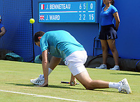 Tennis - 2017 Aegon Championships [Queen's Club Championship] - Day Two, Monday<br /> <br /> Men's Singles, Round of 32<br /> James Ward [GBR] vs. Julien Benneteau [France]<br /> <br /> James Ward on his way to defeat, slips on the grass on Court 1<br /> <br /> COLORSPORT/ANDREW COWIE