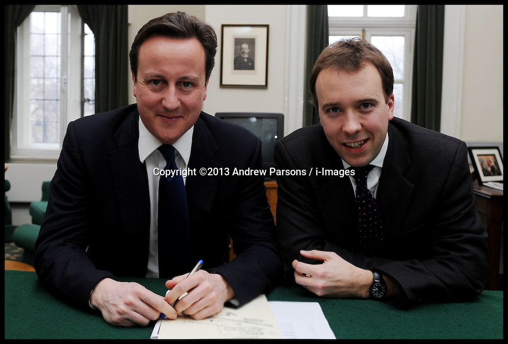 File picture of Matthew Hancock who was  Promoted in Cabinet reshuffle, Monday October 7 , 2013. London, United Kingdom. He has been promoted to minister of state for skills and enterprise. Picture shows David Cameron with Matt Hancock taken on Thursday February 18, 2010 Picture by Andrew Parsons / i-Images