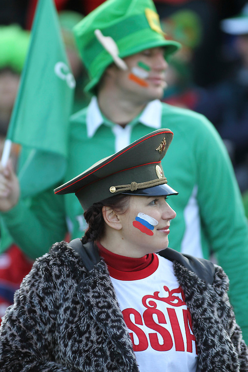Russia fans against Ireland in their Rugby World Cup pool match at Rotorua International Stadium, Rotorua, New Zealand, Sunday, September 25, 2011. Credit:SNPA / John Cowpland