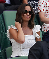 &copy; Licensed to London News Pictures.05/07/18.<br /> London, UK: The Wimbledon Lawn Tennis Championships at All England Lawn Tennis and Croquet Club<br /> Pipper Middleton watches <br /> Ladies singles - second round<br /> Johanna Konta (GBR) Loses to Dominika Cibulkova (svk)