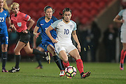 Karen Carney (England) runs with the ball during the International Friendly match between England Women and France Women at the Keepmoat Stadium, Doncaster, England on 21 October 2016. Photo by Mark P Doherty.