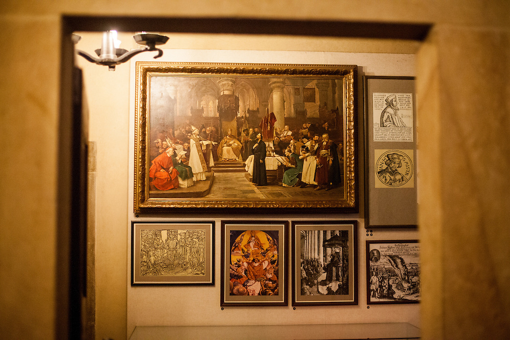 Exhibition of hiatorical paintings at the former flat of Jan Hus located in the Bethlehem Chapel in Prague. The Bethlehem Chapel became very popular because of reformer Jan Hus (John Huss), who preached there from 1402 to 1412.