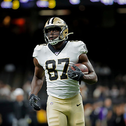 Aug 9, 2019; New Orleans, LA, USA; New Orleans Saints tight end Jared Cook (87) during warm ups prior to a preseason game against the Minnesota Vikings at the Mercedes-Benz Superdome. Mandatory Credit: Derick E. Hingle-USA TODAY Sports