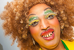 London, June 28th 2014. A drag queen sparkles as Gay Pride revellers assemble on Baker Street ahead of the parade.