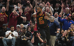 April 18, 2018 - Cleveland, OH, USA - The crowd erupts after Cleveland Cavaliers forward LeBron James hits a 3-pointer against the Indiana Pacers in the first quarter of Game 2 of a first-round NBA playoff series on Wednesday, April 18, 2018, at the Quicken Loans Arena in Cleveland. (Credit Image: © Leah Klafczynski/TNS via ZUMA Wire)