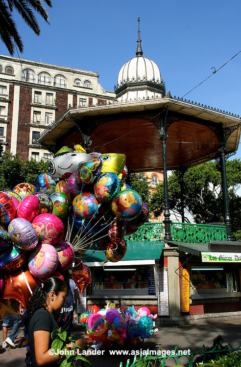 Bandstand at the Cuernavaca Plaza or Zocalo with balloons for the kids