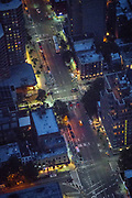 Aerial pictures of Manhattan. Traffic in midtown
