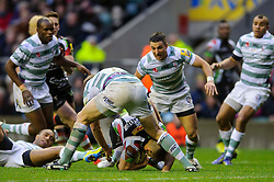 Scrum-Half (#9) Danny Care rolls towards the line and appears to touch the ball down for a TMO confirmed try during the second half of the match - Photo mandatory by-line: Rogan Thomson/JMP - Tel: Mobile: 07966 386802 29/12/2012 - SPORT - RUGBY - Twickenham Stadium - London. Harlequins v London Irish - Aviva Premiership - LV= Big Game 5.