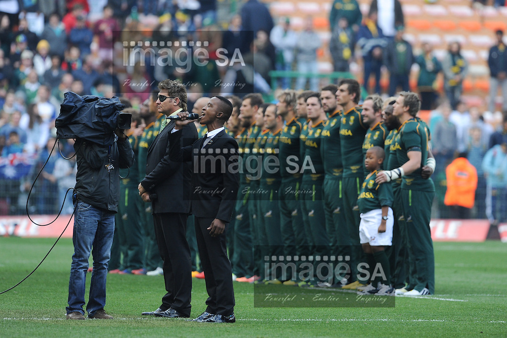 CAPE TOWN, SOUTH AFRICA - Saturday 28 September 2013, Katlego Maboe and Kurt Darren sing the national anthems during the Castle Lager Rugby Championship test match between South Africa (Sprinkboks) and Australia (Wallabies) at DHL Newlands in Cape Town.<br /> Photo by Roger Sedres/ ImageSA