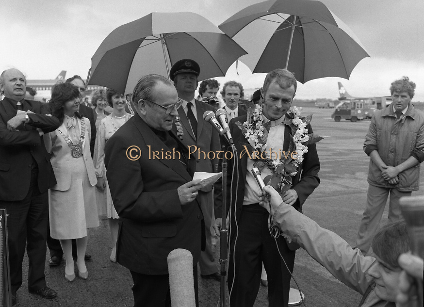 """Fr Niall O'Brien Returns from Captivity.1984..14.07.1984..07.14.1984..On 6 May 1983,Fr Niall O'Brien was arrested along with two other priests, Fr. Brian Gore, an Australian, Fr. Vicente Dangan, a Filipino and six lay workers - the so-called """"Negros Nine"""", for the murders of Mayor Pablo Sola of Kabankalan and four companions. The priests where held under house arrest for eight months but """"escaped"""" to prison in Bacolod City, the provincial capital, where they felt they would be safer.The case received widespread publicity in Ireland and Australia, the home of one of the co-accused priests, Fr. Brian Gore. When Ronald Reagan visited Ireland in 1984, he was asked on Irish TV how he could help the missionary priest's situation. A phone call the next day from the Reagan administration to Ferdinand Marcos resulted in Marcos offering a pardon to Fr. O'Brien and his co-accused..(Ref Wikipedia)...Cardinal O'Fiach is pictured reading a speech of thanks for the safe return of Fr Niall from the Philippines."""