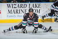KELOWNA, CANADA - NOVEMBER 21: Devante Stephens #21 of Kelowna Rockets stretches on the ice during warm up against the Vancouver Giants on November 21, 2015 at Prospera Place in Kelowna, British Columbia, Canada.  (Photo by Marissa Baecker/Shoot the Breeze)  *** Local Caption *** Devante Stephens;