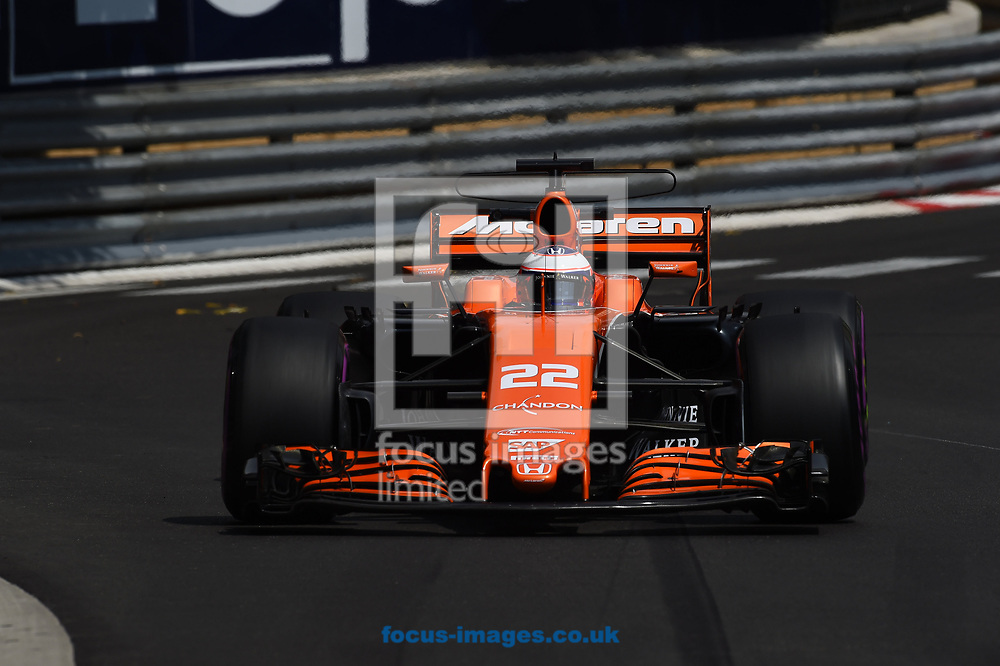 Jenson Button of McLaren Honda during the practice session for the 2017 Monaco Formula One Grand Prix at the Circuit de Monaco, Monte Carlo<br /> Picture by EXPA Pictures/Focus Images Ltd 07814482222<br /> 25/05/2017<br /> *** UK & IRELAND ONLY ***<br /> <br /> EXPA-EIB-170525-0093.jpg