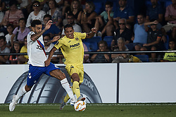 September 20, 2018 - Vila-Real, Castellon, Spain - Carlos Bacca (R) of Villarreal CF competes for the ball with Connor Goldson of Rangers during the UEFA Europa League group G match between Villarreal CF and Rangers at Estadio de la Ceramica on September 20, 2018 in Vila-real, Spain  (Credit Image: © David Aliaga/NurPhoto/ZUMA Press)