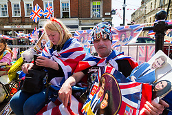 Royal event fanatics are camped out on the streets of Windsor as excitement builds up in the Royal town ahead of the royal wedding on Saturday 19th May when HRH Prince Harry weds actress Megan Markle. Windsor, May 17 2018.