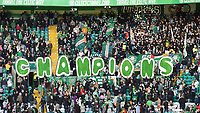 24/05/15 SCOTTISH PREMIERSHIP<br /> CELTIC v INVERNESS CT<br /> CELTIC PARK - GLASGOW<br /> The Celtic fans unveil a sign which spells out 'Champions'