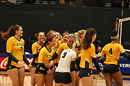 October 28, 2017 - Johnson City, Tennessee - Brooks Gym: ETSU middle blocker Mariah McPartland (7), ETSU setter Alyssa Kvarta (12), ETSU defensive specialist Hailey Aguilar (1), ETSU outside hitter Leah Clayton (8), ETSU setter Lexie Libs (2), ETSU libero Marija Popovic (9), ETSU middle blocker Kaela Massey (5)<br /> <br /> Image Credit: Dakota Hamilton/ETSU