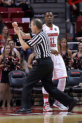 26 November 2016:  Randy Heimerman calls a contact foul during an NCAA  mens basketball game between the IUPUI Jaguars the Illinois State Redbirds in a non-conference game at Redbird Arena, Normal IL