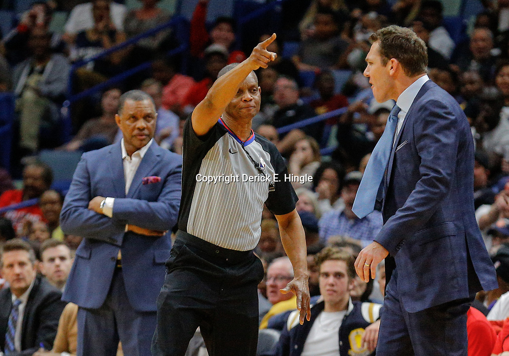 Feb 14, 2018; New Orleans, LA, USA; referee Michael Smith (38) ejects Los Angeles Lakers head coach Luke Walton as New Orleans Pelicans head coach Alvin Gentry looks on during the second quarter at the Smoothie King Center. Mandatory Credit: Derick E. Hingle-USA TODAY Sports