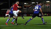 FC United's Tom Greaves strikes during the The FA Cup match between FC United of Manchester and Chesterfield at Broadhurst Park, Manchester, United Kingdom on 9 November 2015. Photo by Pete Burns.