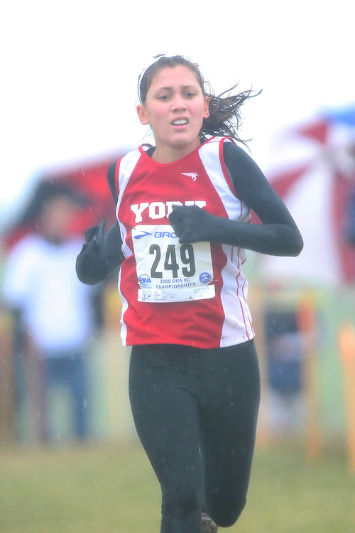 (Kingston, ON---25 October 2008) Carol Graham of YORKuniversity running to finish 62 in the 2008 Ontario University Athletics women's cross country championship.  Photograph copyright Sean Burges/Mundo Sport Images (www.msievents.com).
