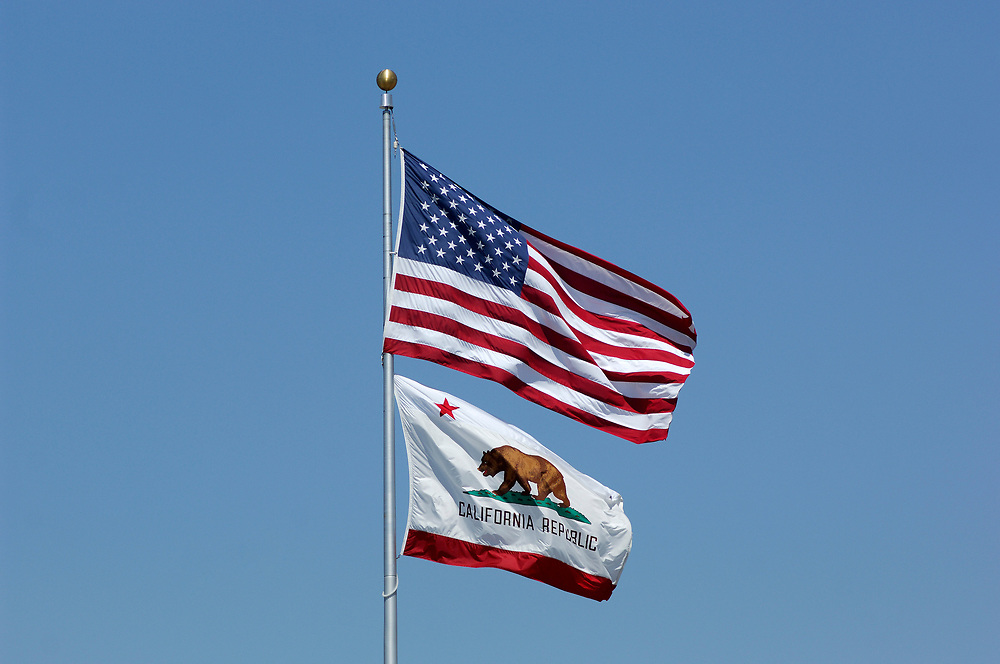USA and California Flag, Salinas, California, United States of America