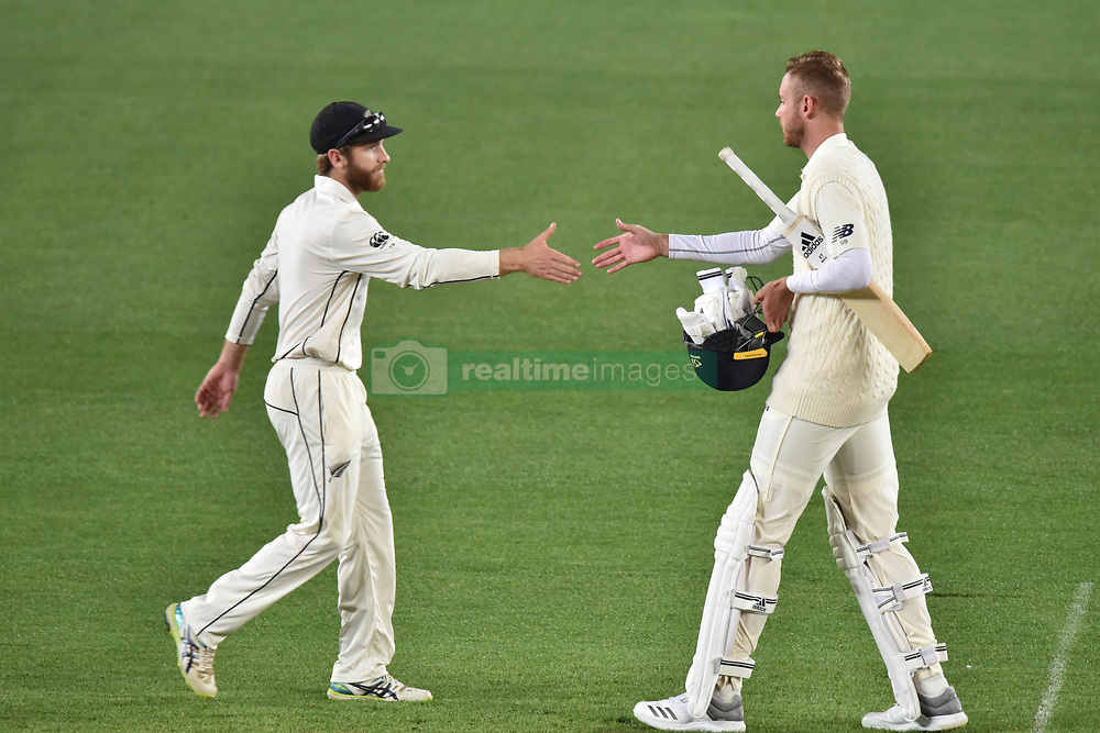 March 26, 2018 - Auckland, Auckland, New Zealand - Kane Williamson of Blackcaps shakes hands with Stuart Broad of England after his team wining the match during Day Five of the First Test match between New Zealand and England at Eden Park in Auckland on Mar 26, 2018. Blackcaps win by an inners and 48 runs (Credit Image: © Shirley Kwok/Pacific Press via ZUMA Wire)